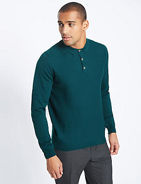 Merino Wool Blend Tailored Fit Jumper, TEAL, catlanding