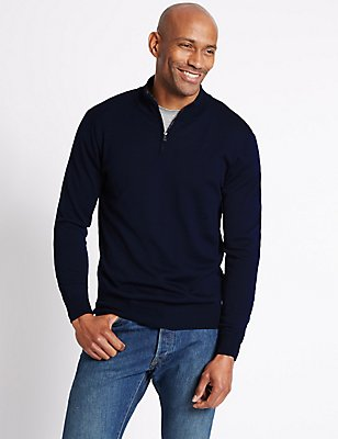 Merino Wool Blend Zipped Jumper, NAVY, catlanding