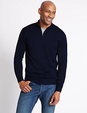 Merino Wool Blend Zipped Jumper, NAVY, catlanding