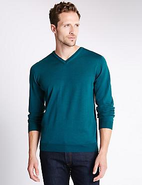 Merino Wool Rich Slim Fit Jumper with Silk, DARK TURQUOISE, catlanding