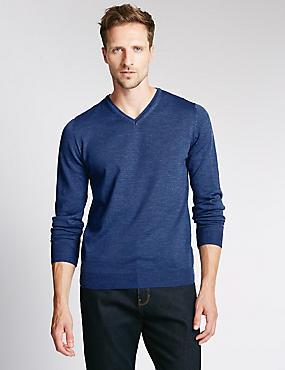 Merino Wool Rich Slim Fit Jumper with Silk, PRUSSIAN, catlanding
