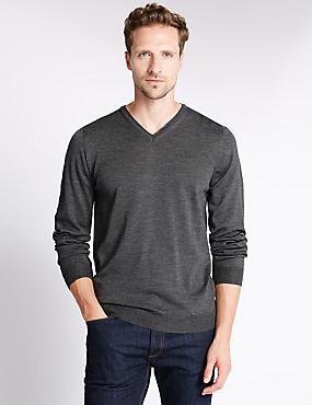 Merino Wool Rich Slim Fit Jumper with Silk, GREY MARL, catlanding