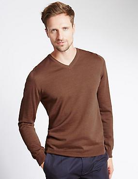 Merino Wool Rich Slim Fit Jumper with Silk, PRALINE, catlanding