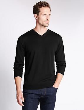 Merino Wool Rich Slim Fit Jumper with Silk, BLACK, catlanding