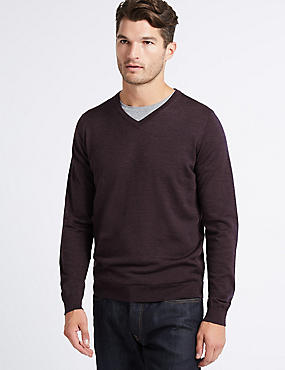 Pure Merino Wool V-Neck Jumper, PURPLE, catlanding