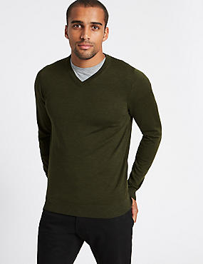 Pure Merino Wool V-Neck Jumper, BARK, catlanding