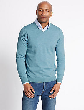 Pure Merino Wool Jumper, TURQUOISE, catlanding