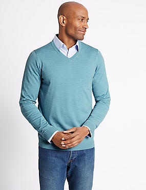 Pure Merino Wool Jumper, ICE BLUE, catlanding