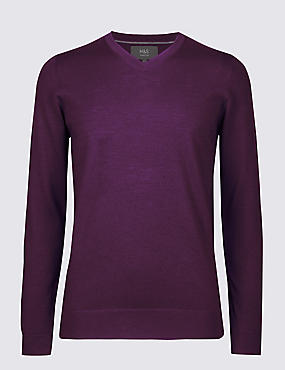 Pure Merino Wool V-Neck Jumper, BRIGHT PURPLE, catlanding