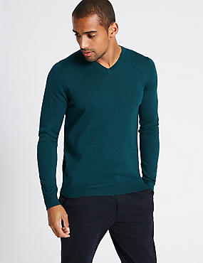 Pure Merino Wool V-Neck Jumper, DARK TEAL, catlanding