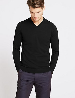 Pure Merino Wool V-Neck  Jumper, BLACK, catlanding