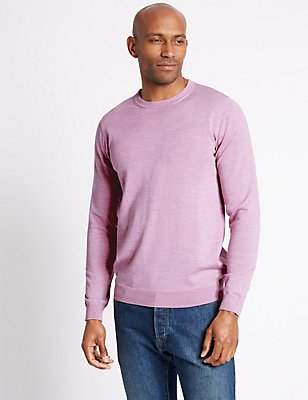 Pure Merino Wool Crew Neck Jumper, MEDIUM PINK, catlanding