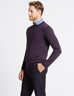 Pure Merino Wool Crew Neck Jumper, PURPLE, catlanding