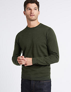 Pure Merino Wool Crew Neck Jumper, BARK, catlanding