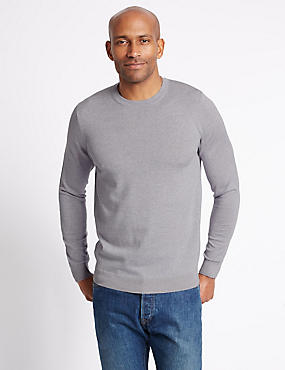 Pure Merino Wool Crew Neck Jumper, SILVER GREY, catlanding