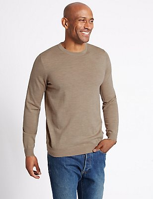 Jersey 100% lana de merino con escote cerrado, CRUDO, catlanding