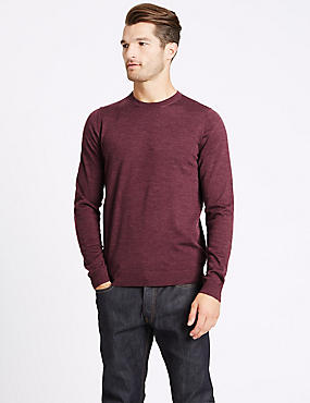 Pure Merino Wool Crew Neck Jumper, DARK RASPBERRY, catlanding