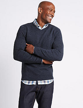 Merino Wool Rich V-Neck Jumper, NAVY, catlanding