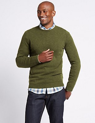 Merino Wool Rich Crew Neck Jumper, TEAL GREEN, catlanding
