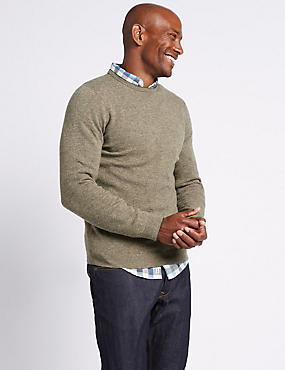 Merino Wool Rich Crew Neck Jumper, BROWN, catlanding