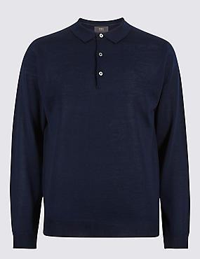 Merino Wool Blend Polo Shirt, NAVY, catlanding
