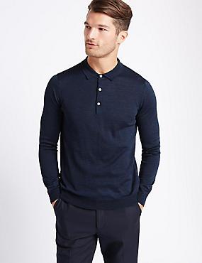 Merino Wool Blend Polo Shirt, BLUE DENIM, catlanding