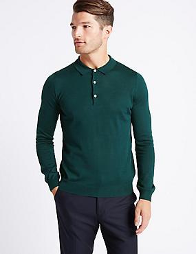 Merino Wool Blend Polo Shirt, TEAL, catlanding