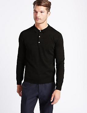 Merino Wool Blend Polo Shirt, CHARCOAL MIX, catlanding