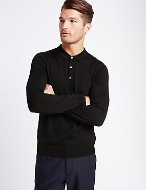 Merino Wool Blend Polo Shirt, BLACK MIX, catlanding
