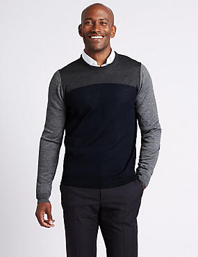 Merino Wool Blend Colour Block Jumper, NAVY MIX, catlanding