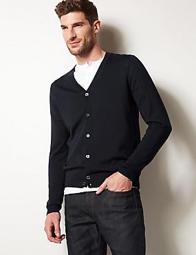 Pure Merino Wool Cardigan, NAVY, catlanding
