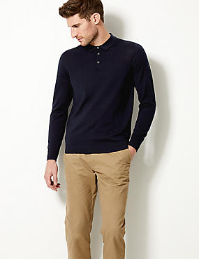 Pure Merino Wool Polo Shirt, , catlanding