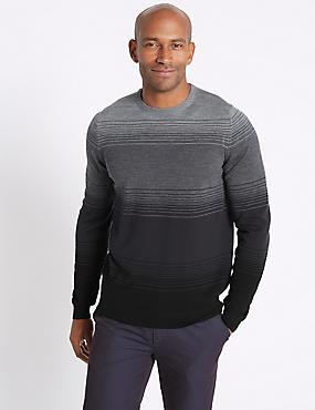 Pure Merino Wool Striped Jumper, GREY, catlanding