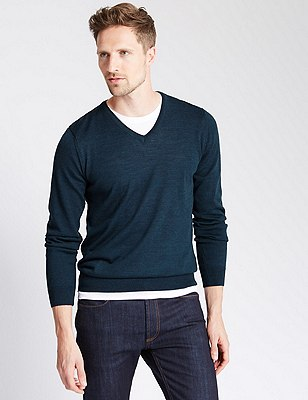 Pure Merino Wool Slim Fit Lightweight Jumper, NAVY MIX, catlanding