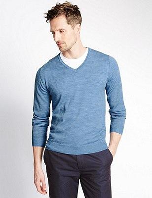 Pure Merino Wool Slim Fit Lightweight Jumper, LIGHT DENIM, catlanding