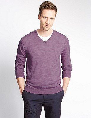 Pure Merino Wool Slim Fit Lightweight Jumper, MAUVE, catlanding