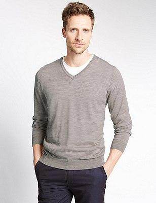 Pure Merino Wool Slim Fit Lightweight Jumper, OATMEAL, catlanding