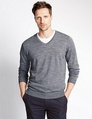 Pure Merino Wool Slim Fit Lightweight Jumper, GREY MARL, catlanding