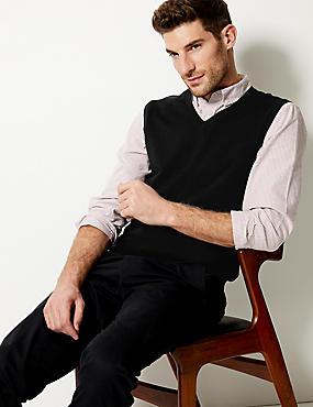 Pure Merino Wool Slipover Jumper, BLACK, catlanding