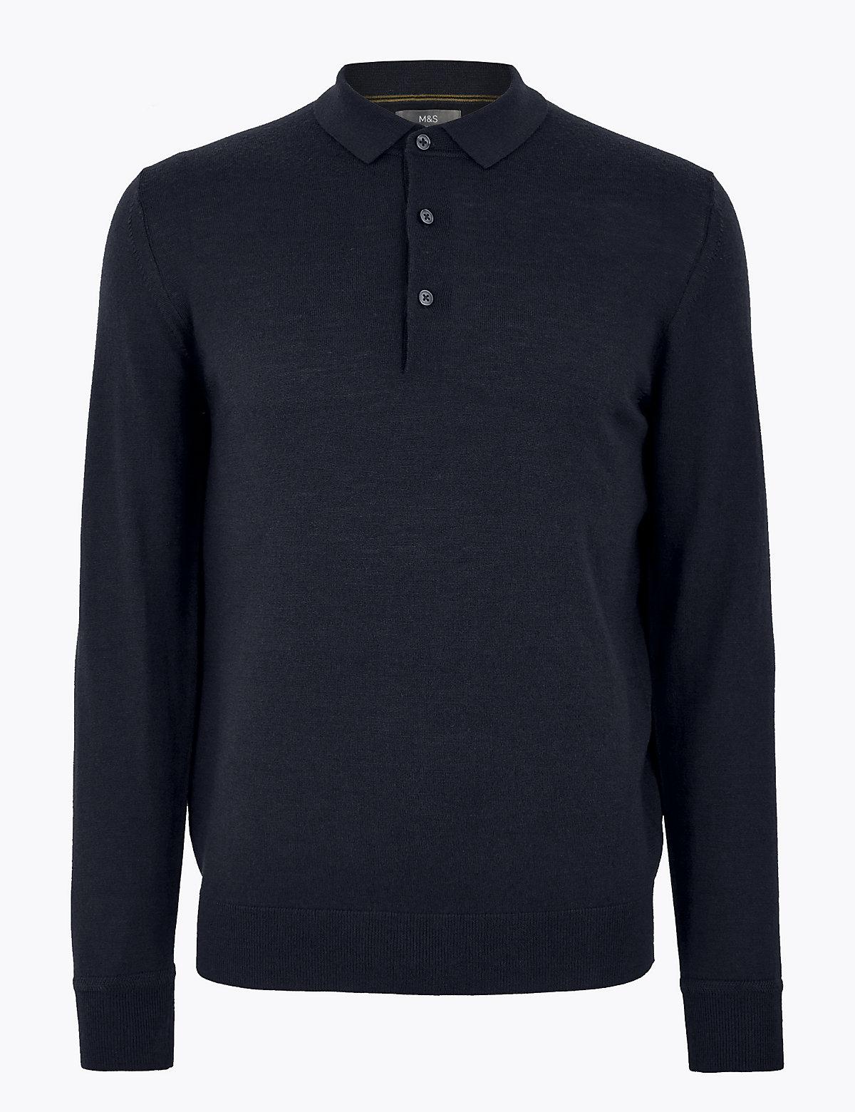 Трикотажная рубашка-поло с длинным рукавом