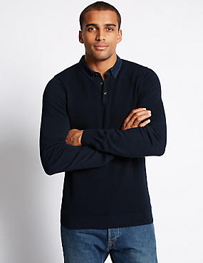 Pure Cotton Jumper With Woven Collar, INDIGO, catlanding