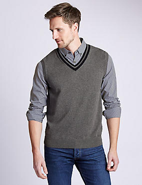 Pure Cotton Mock Shirt Slipover Jumper, GREY MIX, catlanding