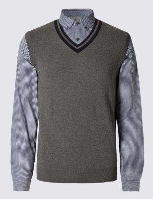 Джемпер-рубашка из чистого хлопка