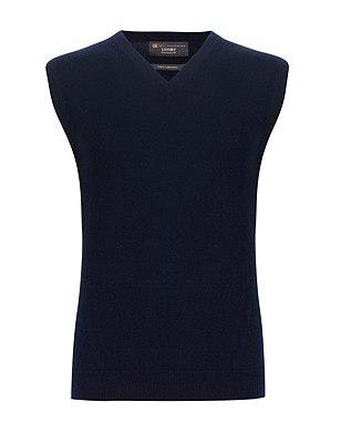 Pure Cashmere V-Neck Slipover, NAVY, catlanding
