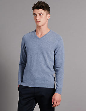 Pure Cashmere V-Neck Jumper, BLUE/GREY, catlanding