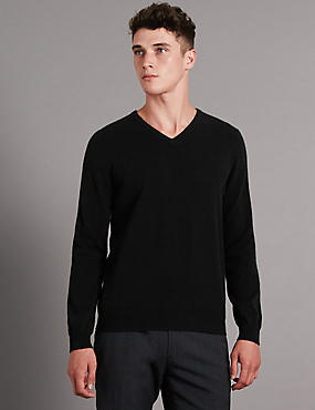 Pure Cashmere V-Neck Jumper, BLACK, catlanding