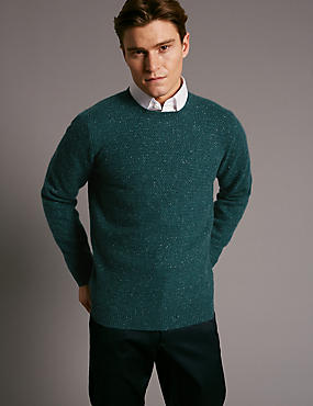 Pure Cashmere Textured Jumper, TEAL, catlanding