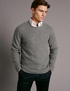 Pure Cashmere Textured Jumper, GREY, catlanding