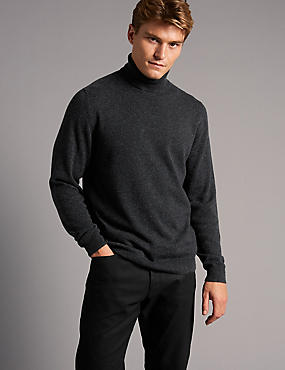Pure Cashmere Roll Neck Jumper, CHARCOAL, catlanding