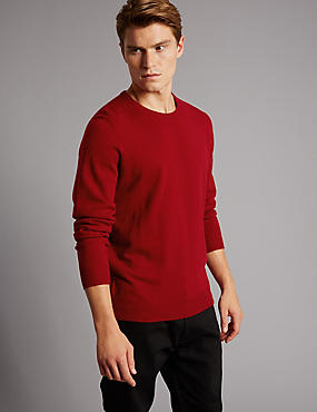 Pure Cashmere Crew Neck  Jumper, RED, catlanding